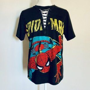 Spider-man Laced Collar Distressed Graphic Tee